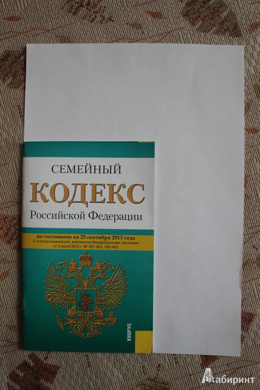 Иллюстрация 1 из 8 для Семейный кодекс Российской Федерации по состоянию на 25 сентября 2013 года | Лабиринт - книги. Источник: Глушко  Александр