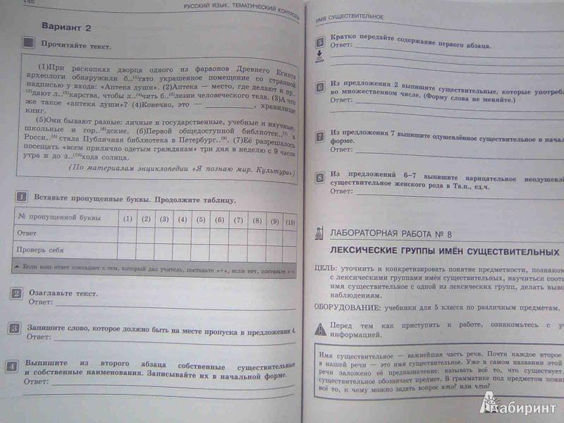 Иллюстрация из для Русский язык Тематический контроль  Иллюстрация 15 из 15 для Русский язык Тематический контроль Рабочая тетрадь 5 класс