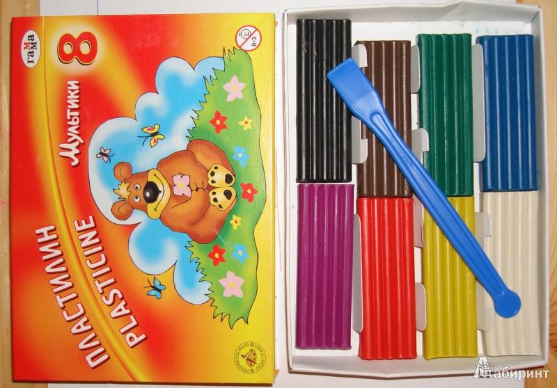 Иллюстрация 1 из 6 для Пластилин со стеком 8 цветов Мультики (280016) | Лабиринт - игрушки. Источник: Наталья К.