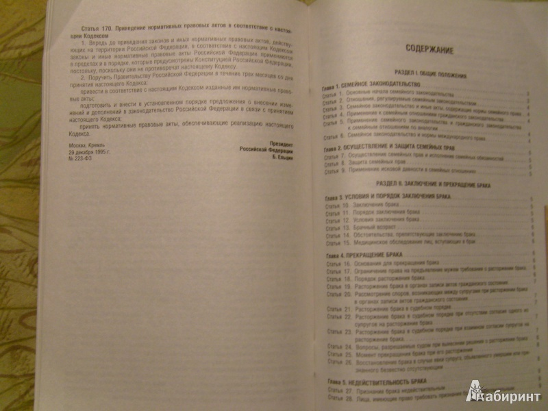 Иллюстрация 1 из 10 для Семейный кодекс РФ по состоянию на 25.01.14   Лабиринт - книги. Источник: Никита Фидык