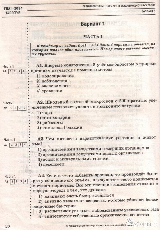 Онлайн гдз по биологии тренеровочные варианты к экзамену гиа 9 класс сосновская