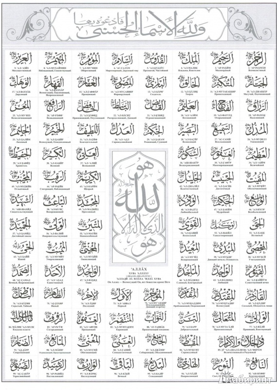 фото 99 имен аллаха