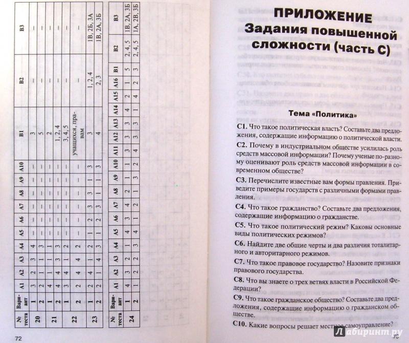 Ответы на контрольно измерительные материалы по обществознанию 6 класс