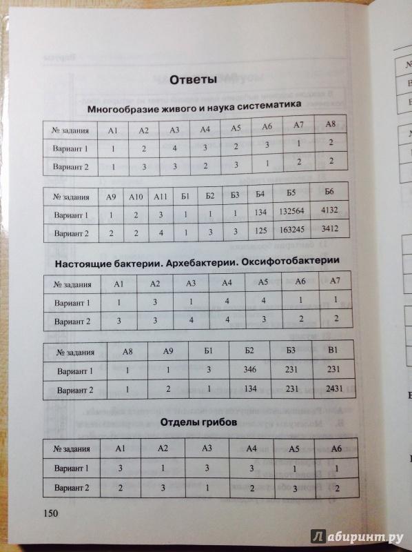 Тесты по биологии 7 класса и ответы