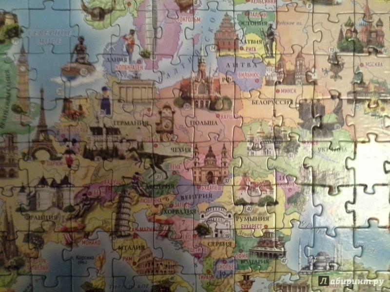 Иллюстрация 1 из 3 для Европа. Достопримечательности. Карта-пазл (260 деталей) | Лабиринт - игрушки. Источник: Попенкова  Ирина