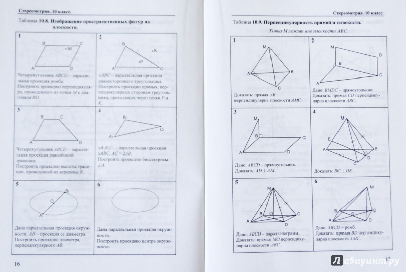 Стереометрия 10 класс таблица 10.6 ответы