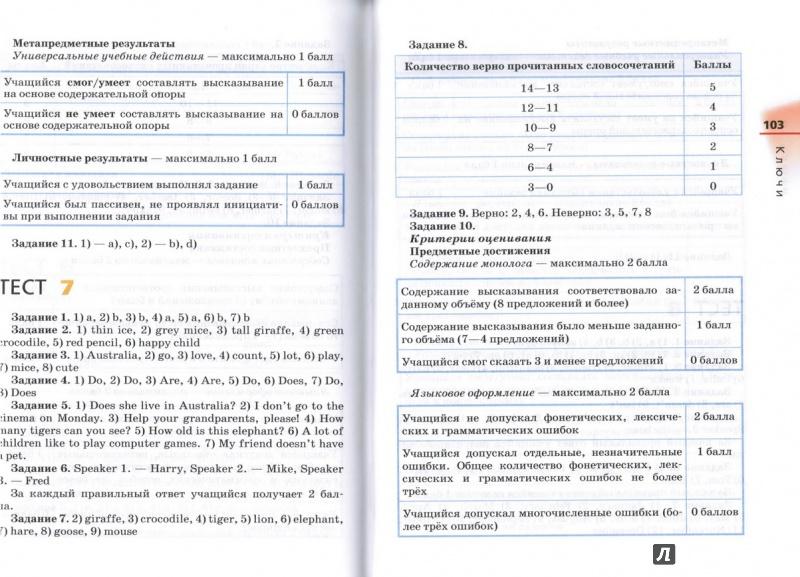 Гдз английский язык диагностические работы 5 класс афанасьева ответы