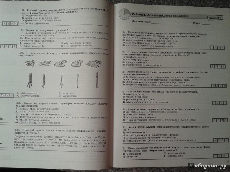 Диагностические работы 11 класс биология