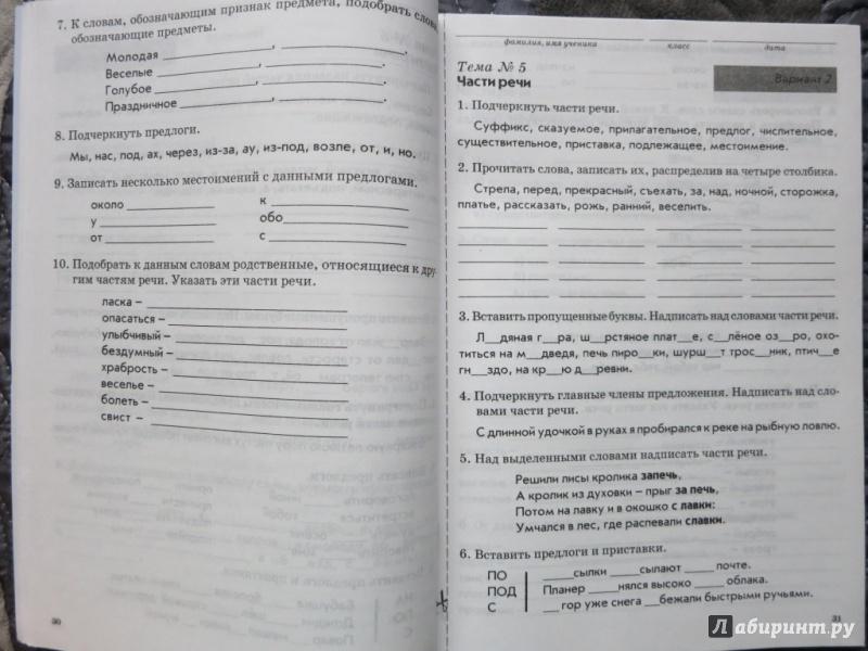 Тематический контроль знаний учащихся по русскому 2 класс голубь гдз