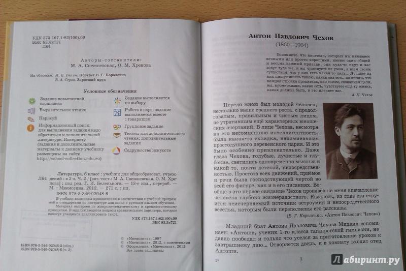 хренова литературе класс по решебник снежневская 6