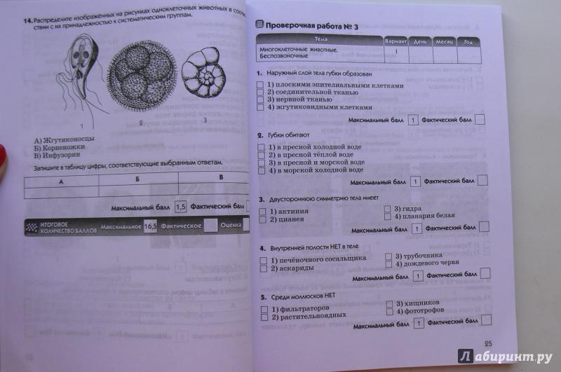 Контрольным 7 по гдз биологии клас по работам