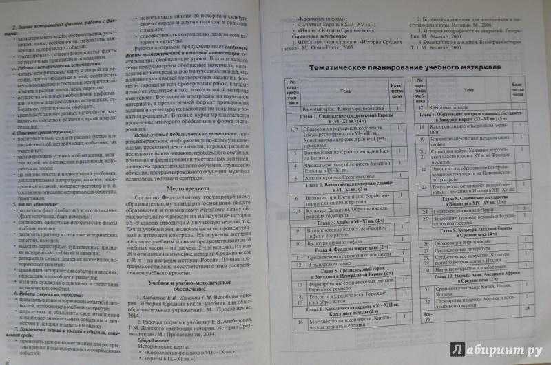 Тематическое планирование история 6 класс агибалова