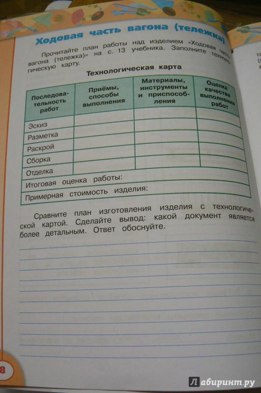 Решебник по технологии 4 класс рабочая тетрадь роговцева анащенкова