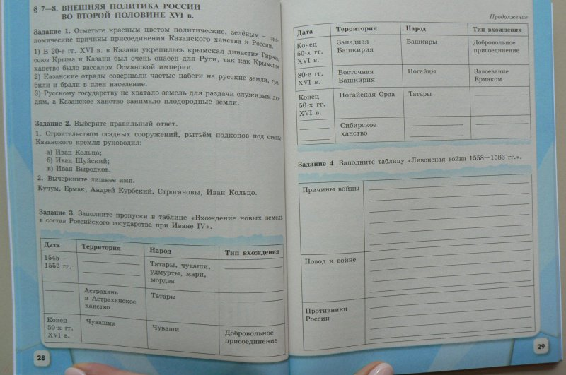 Гдз по учебнику по истории россии 7 класс данилов косулина рабочая тетрадь