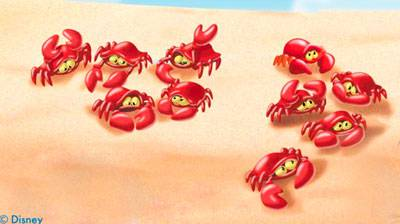 How many crabs can you see here? Write the number in written form.