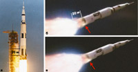 Горящий корпус 'лунной' ракеты А-13: а) ранняя стадия полета ракеты — корпус не горит; б, в) более поздняя стадия полета ракеты — хвостовая часть корпуса объятая пламенем на 20 м выше сопел первой ступени