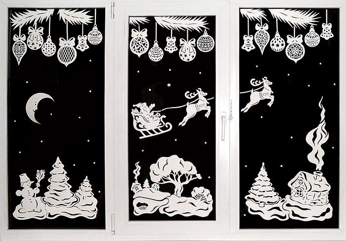Трафареты из бумаги  новогодние украшения для окон