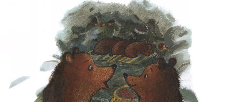 Иллюстрация Марии Покровской к сказке Рахиль Баумволь «Как медведица искала своих медвежат»
