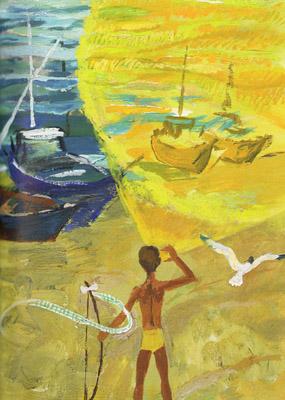 3 Иллюстрация Геннадия Епишина к книге Галины Демыкиной «Цветные стеклышки»