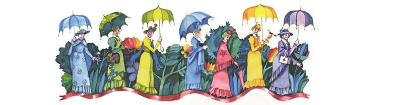 2 Иллюстрация Виктори Пивоварова к книге «Старушки с зонтиками»