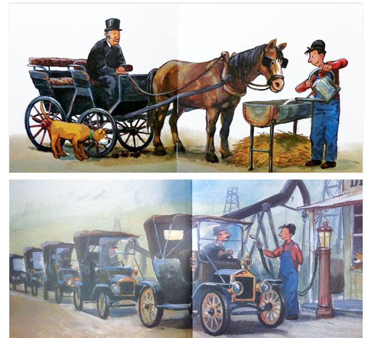 Иллюстрации Йенса Альбума к книге Георга Юхансона «История автомобилей Рассказывает Мулле Мек»