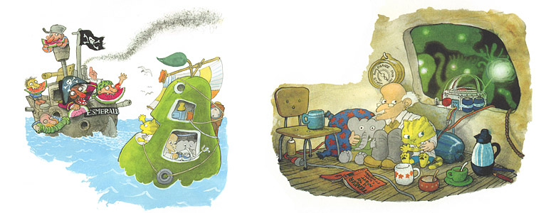 1 Иллюстрации Якоба Мартина Стрида к книге «Невероятная история о гигантской груше»