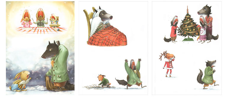 Иллюстрации Мишеля Деруйё к книге Жюли Бинд «Страшный милый волк»