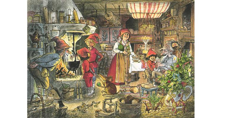 Иллюстрация Свена Нурдквиста к книге «Рождественская каша»
