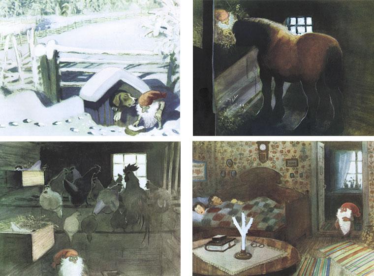 Иллюстрации Харальда Виберга к книге Астрид Линдгрен «Томтен»