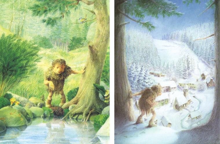 Иллюстрации Рональда Хойнинка к книге «Тролль который хотел стать человеком»