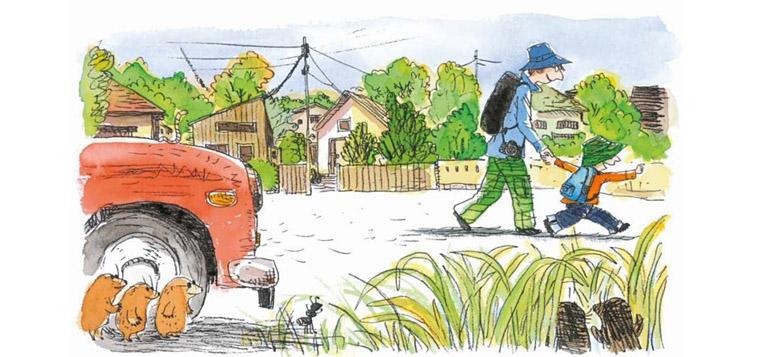 3 Иллюстрации Косиро Хаты к книге Нобуко Икитавы «Когда папа приходит поздно»