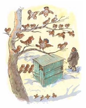 Иллюстрация А Власовой к сказке К Паустовского «Растрепанный воробей»
