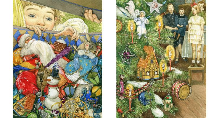 Иллюстрации Людмилы Пипченко к книге Елены Ракитиной «Приключения новогодних игрушек»