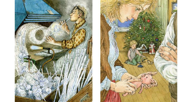 3 Иллюстрации Людмилы Пипченко к книге Елены Ракитиной «Приключения новогодних игрушек»