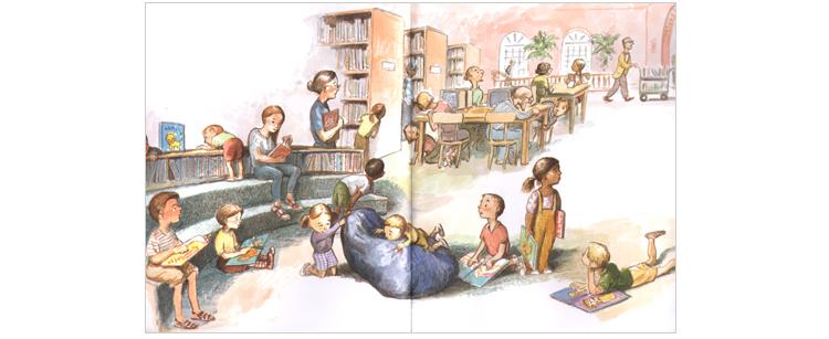 1 Иллюстрация Кевина Хоукса к книге Мишель Кнудсен «Лев в библиотеке»