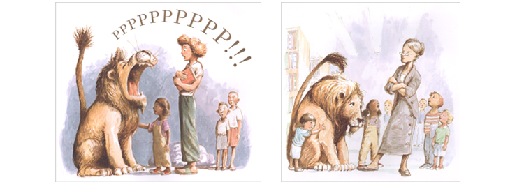 Иллюстрация Кевина Хоукса к книге Мишель Кнудсен «Лев в библиотеке»