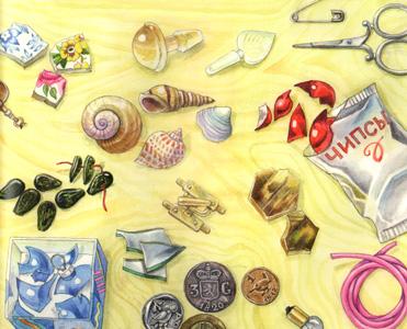 Иллюстрация Алики Калайды к книге Дины Сабитовой «Мышь Гликерия. Цветные и полосатые дни»