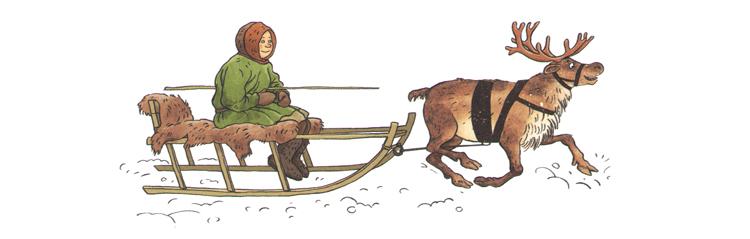 Иллюстрация Ольги Громовой к книге Александра Ткаченко «Вот ты какой, северный олень»