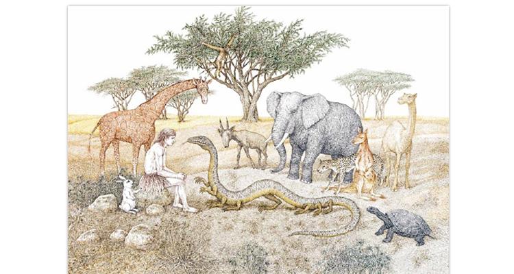 Иллюстрация Валерия Слаука к книге Марины Аромштам «Однажды в Новом Мире»