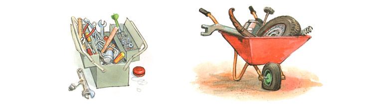 Иллюстрации Йенса Альбума к книге Георга Юхансона «Мулле Мек собирает автомобиль»