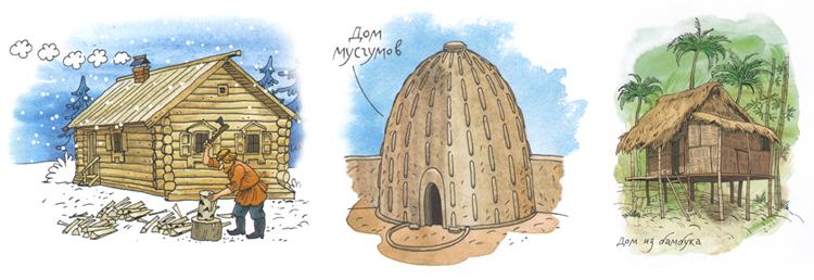 Иллюстрации Ольги Громовой к книге Ольги Колпаковой «Дома мира»