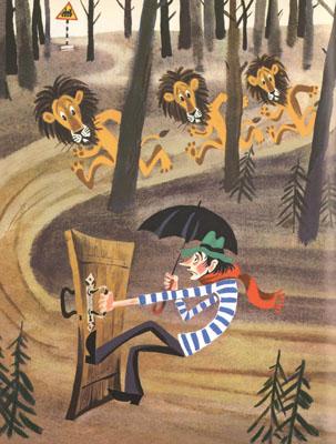 1 Иллюстрация Михаила Беломлинского к книге Святослава Сахарнова «Сказки о львах и парусниках»