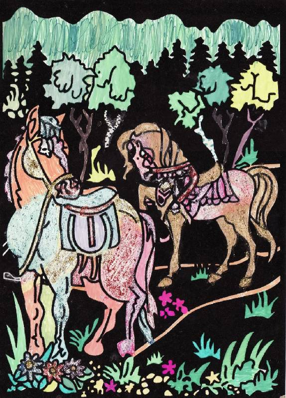 Иллюстрация 1 из 1 для Бархатная раскраска: Кони на лугу ...