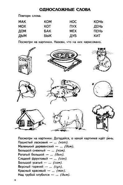 Двусложные слова из открытых слогов картинки