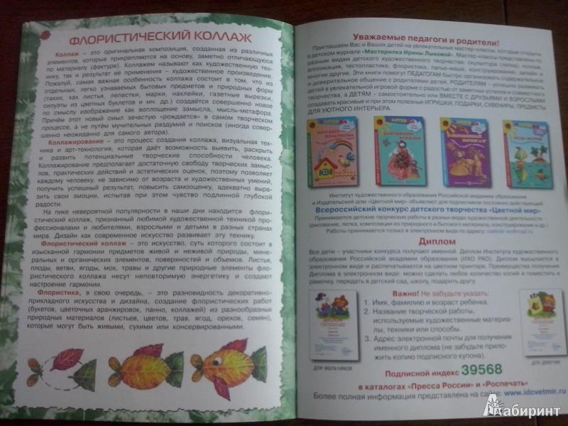 Иллюстрация 11 из 11 для Листик-листик, улыбнись! Коллаж из природного материала - Ирина Лыкова | Лабиринт - книги. Источник: Олюсик