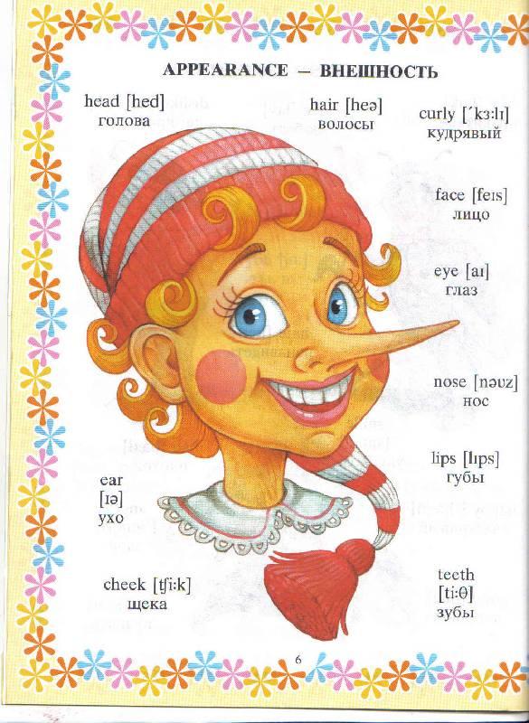 Английский в картинках для детей внешность