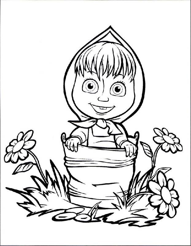 Картинка маша из мультфильма раскраска