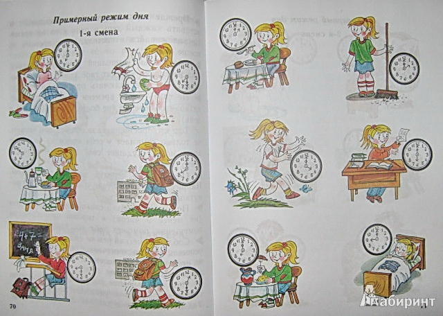 Рисунок на тему режим дня школьника с часами