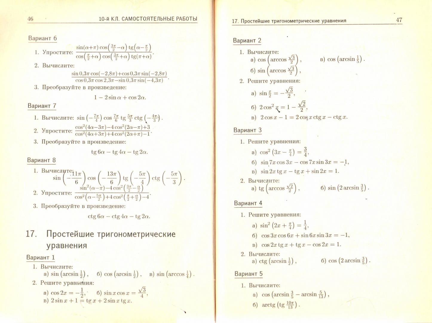 Иллюстрация 1 из 3 для Дидактические материалы по алгебре и началам анализа для 10 класса - Зив, Гольдич   Лабиринт - книги. Источник: Чагина  Юлия Анатольевна