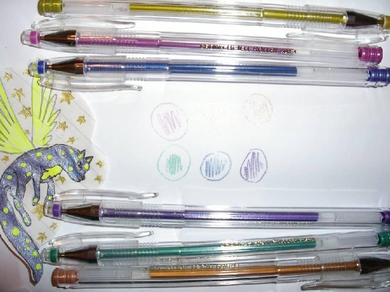 """Иллюстрация 1 из 6 для Набор гелевых ручек 6 цветов """"Металлик"""" (HJR-500GSM/6)   Лабиринт - канцтовы. Источник: Tiger."""